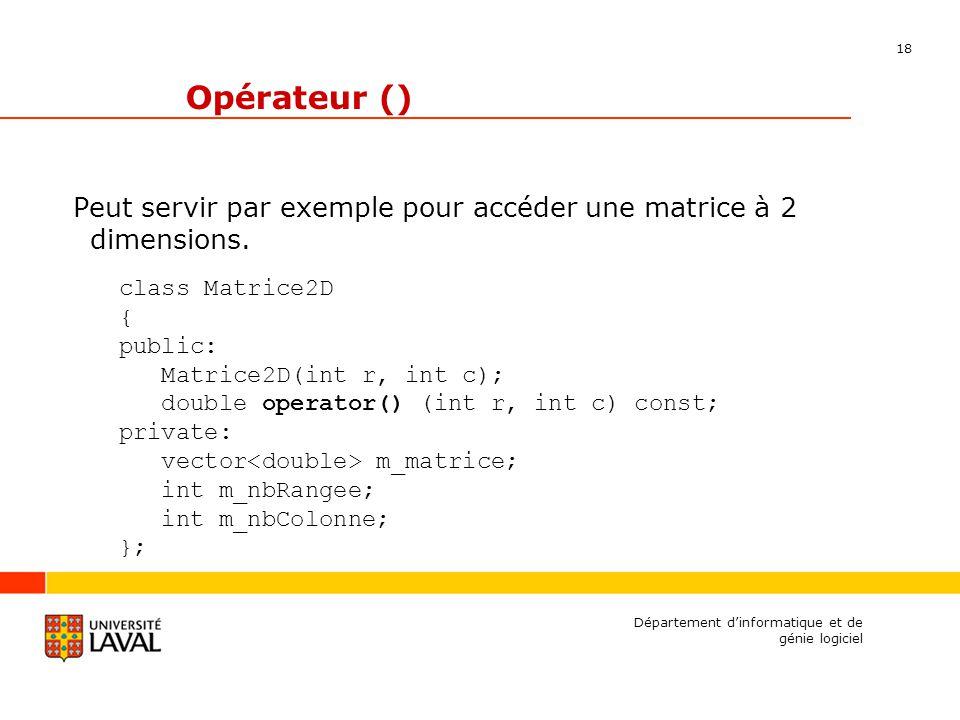 18 Département dinformatique et de génie logiciel Opérateur () Peut servir par exemple pour accéder une matrice à 2 dimensions.