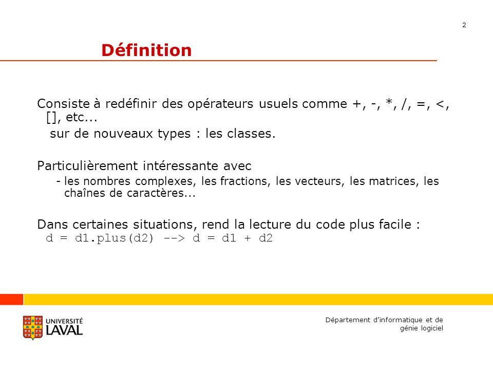 13 Département dinformatique et de génie logiciel Exemple class string { public: string(const char* strP); explicit string(double d); private: char* m_strP; }; string::string(const char* strP) { PRECONDITION (strP != 0); m_strP = new char[strlen(strP)+1]; strcpy(m_strP, strP); } string::string(double d) { ostringstream os; os << d; *this = os.str(); }