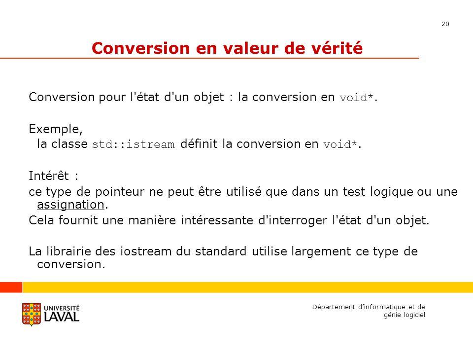20 Département dinformatique et de génie logiciel Conversion en valeur de vérité Conversion pour l état d un objet : la conversion en void*.
