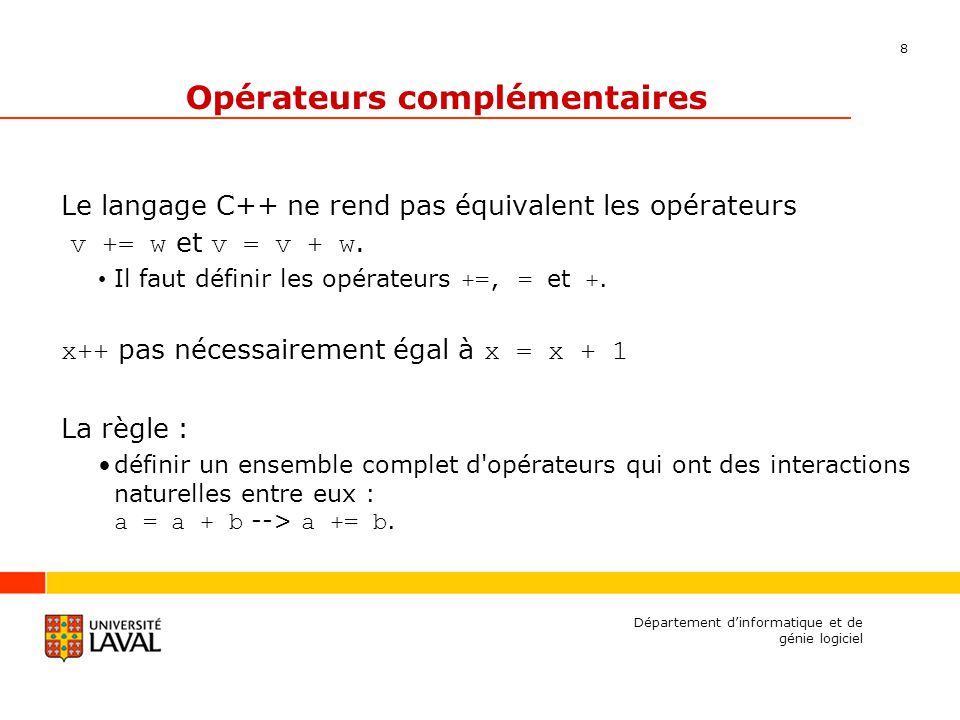 8 Département dinformatique et de génie logiciel Opérateurs complémentaires Le langage C++ ne rend pas équivalent les opérateurs v += w et v = v + w.