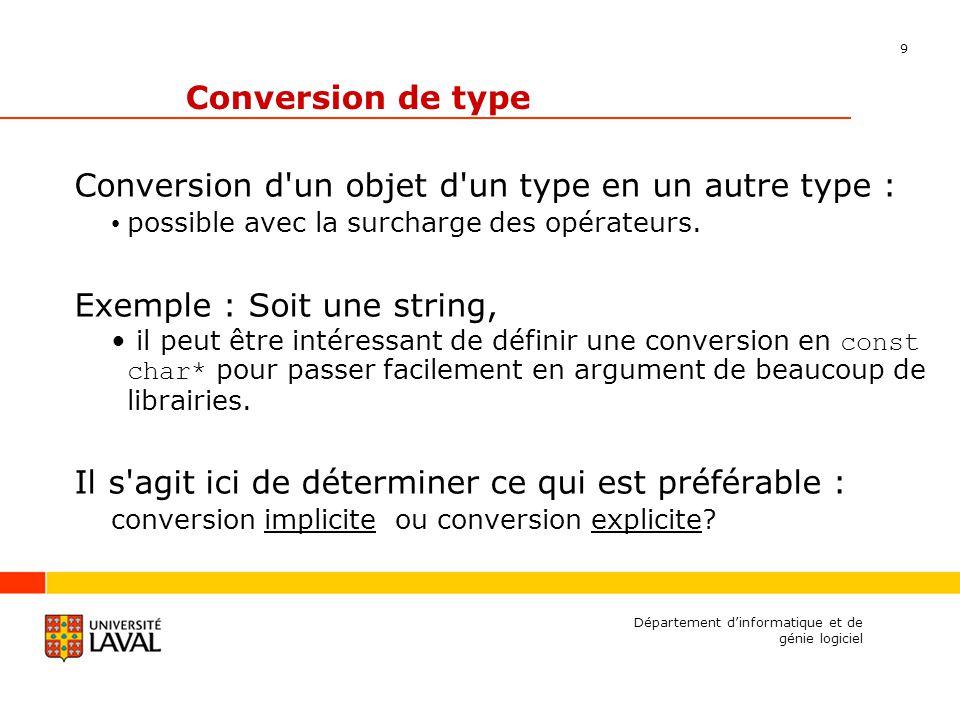 10 Département dinformatique et de génie logiciel Exemple class string { public: operator const char*() const; const char* c_str () const; private: char* m_strP; }; // --- Conversion implicite string::operator const char*() const { return m_strP; } // --- Conversion explicite const char* string::c_str() const { return m_strP; }