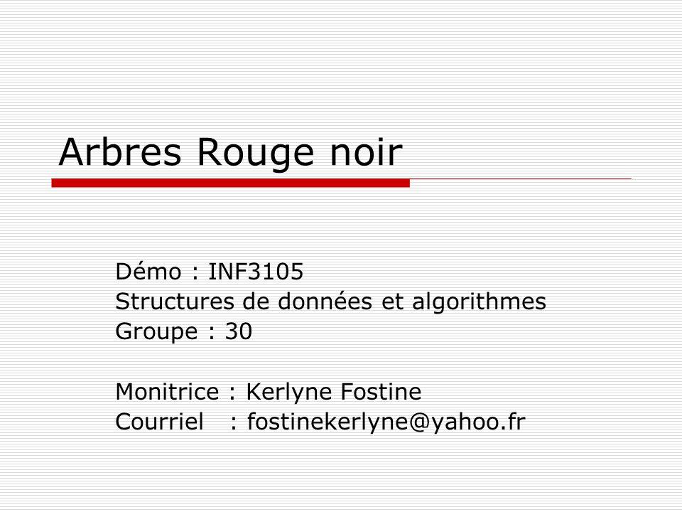 Arbres Rouge noir Démo : INF3105 Structures de données et algorithmes Groupe : 30 Monitrice : Kerlyne Fostine Courriel : fostinekerlyne@yahoo.fr