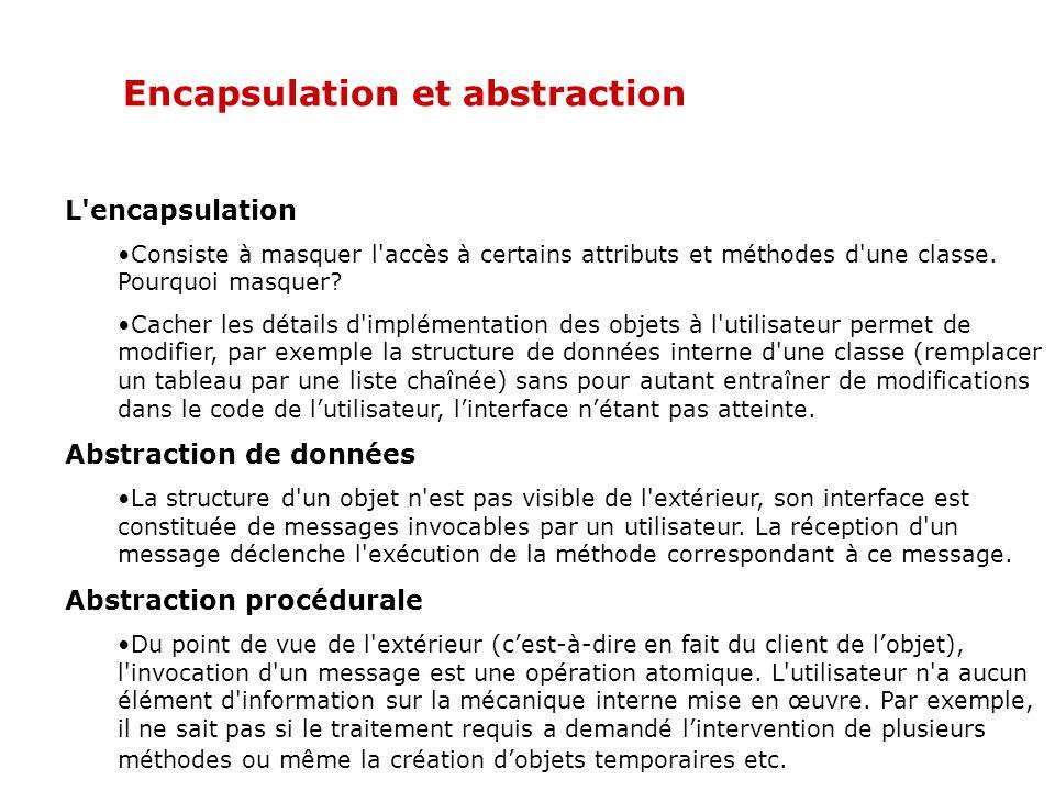 Encapsulation, polymorphisme et héritage Encapsulation Le rassemblement des données et du code les utilisant dans une entité unique (objet).
