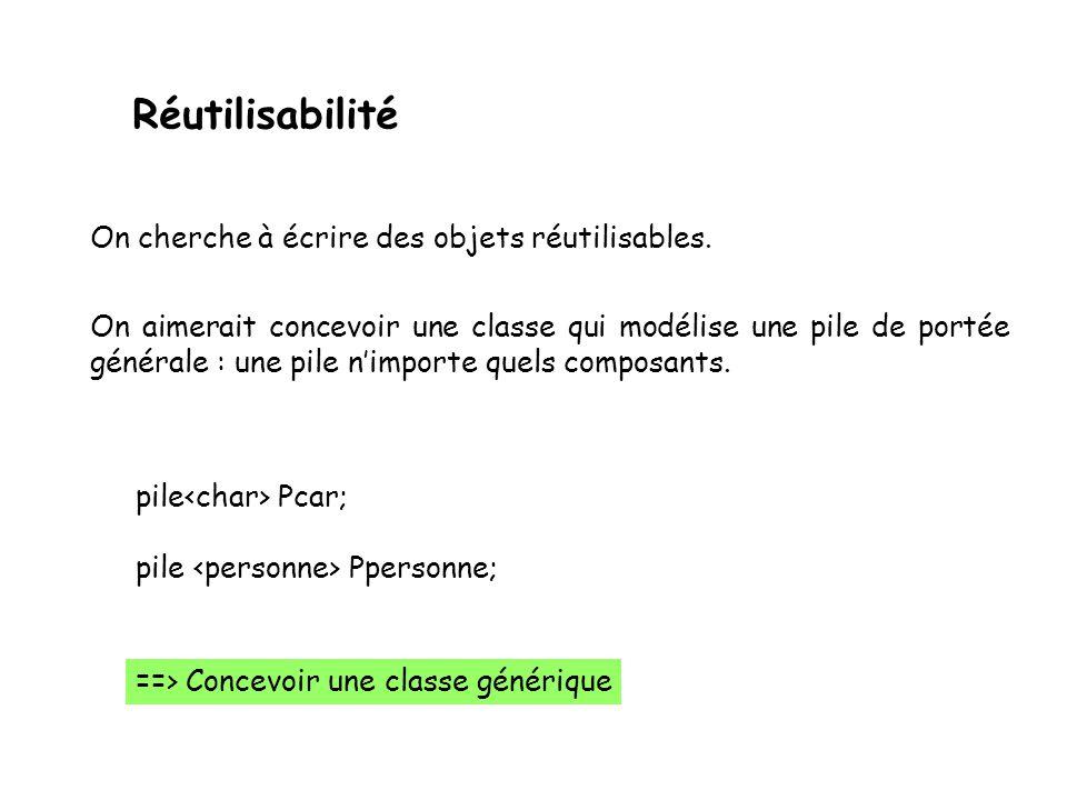 Implantation dune classe (fichier.cpp) Définition des méthodes de la class : Constructeur Destructeur Fonction daccès Date::Date(){ _jour=0; _mois_0; _annee=0; } Date::~Date(){} void Data::afficher(){ cout << la date : << _jour ; cout << / << _mois ; cout << / << _annee << endl; } int Data::getJour() {return _jours;} int Data::getMois() {return _mois;}; int Data::getAnnee(){return _annee;} Data::setJour(int j) {_jour =j;} Data::setMois(int m) {_mois =m;} Data::setAnnee(int a){_annee=a;}