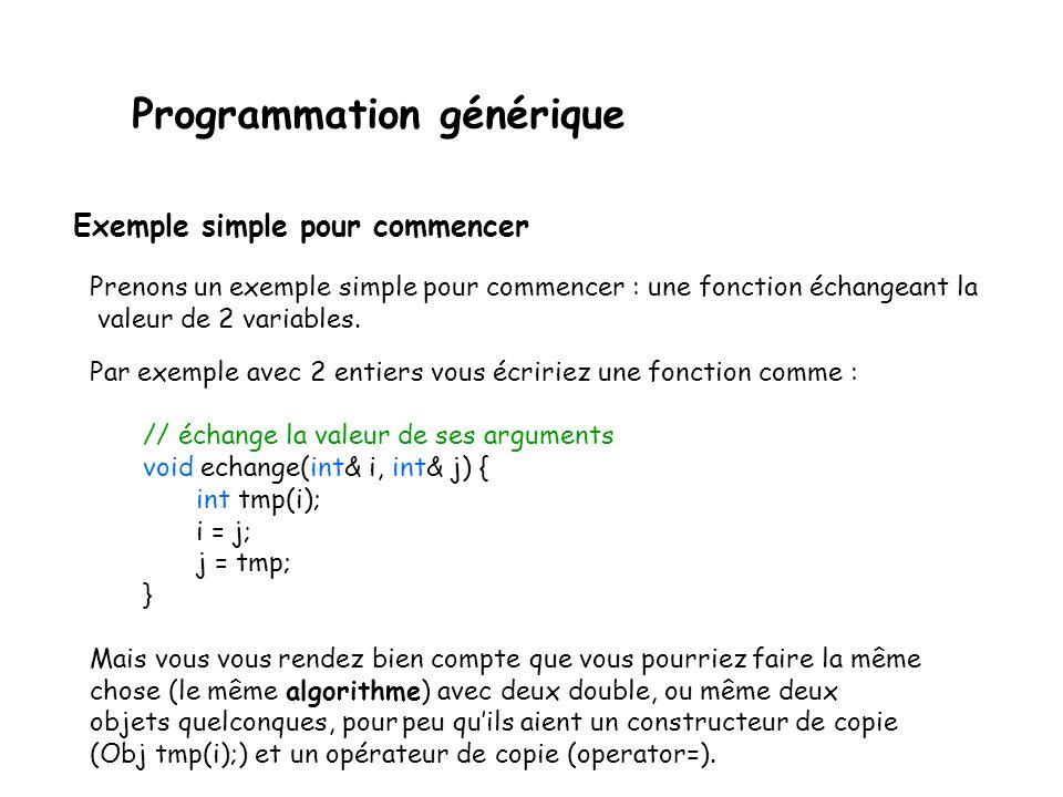 Programmation générique Lidée de base est de passer les types de données comme paramètres pour décrire des traitements très généraux (« génériques »).