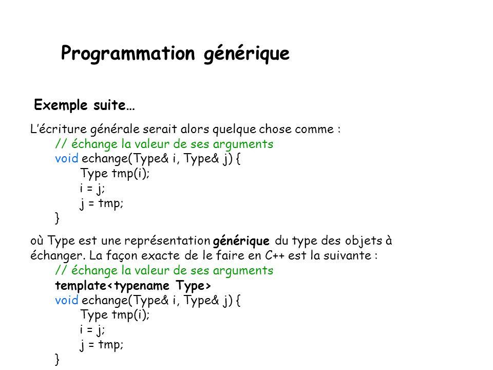 Programmation générique Prenons un exemple simple pour commencer : une fonction échangeant la valeur de 2 variables.