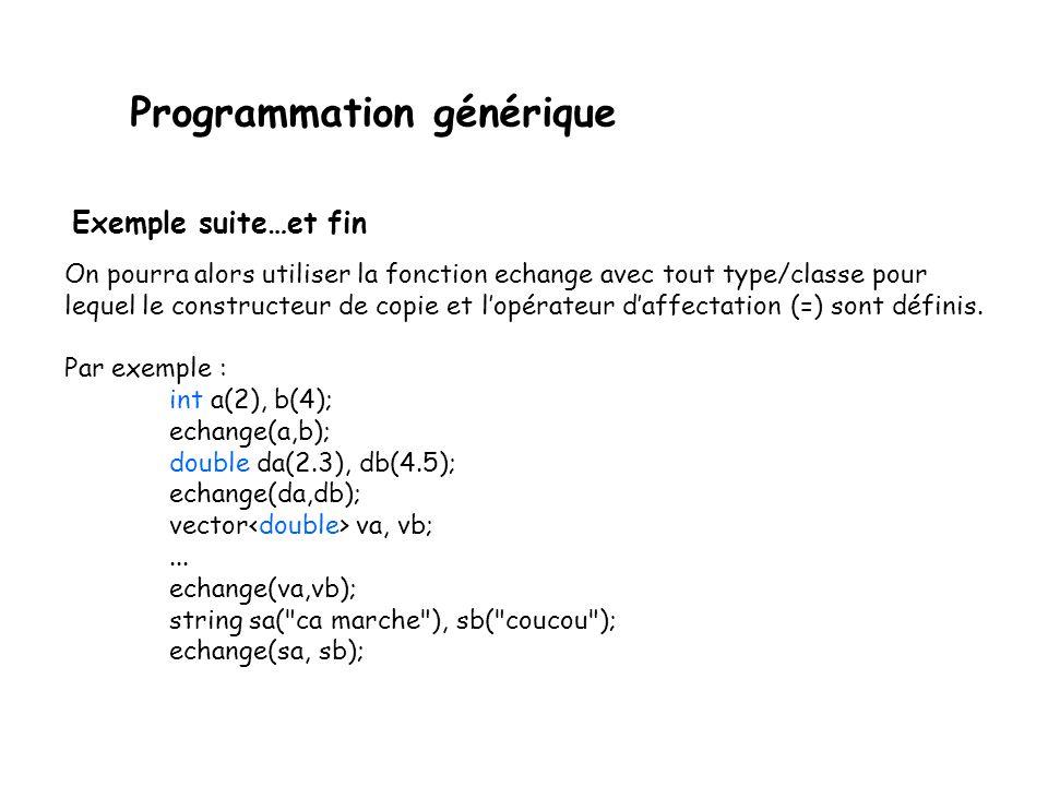Programmation générique Lécriture générale serait alors quelque chose comme : // échange la valeur de ses arguments void echange(Type& i, Type& j) { Type tmp(i); i = j; j = tmp; } où Type est une représentation générique du type des objets à échanger.