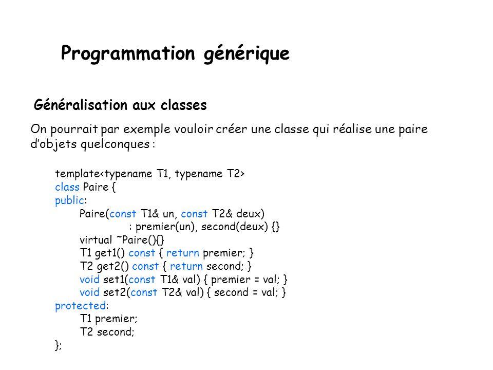 Programmation générique Généralisation aux classes Une classe générique est une classe avec un template.