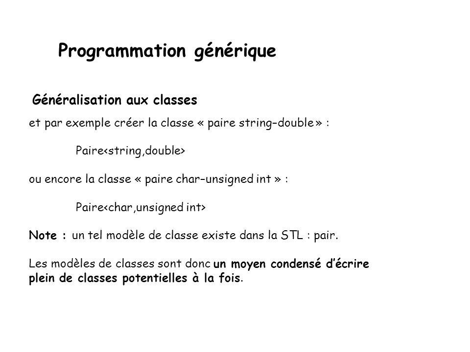 Programmation générique On pourrait par exemple vouloir créer une classe qui réalise une paire dobjets quelconques : template class Paire { public: Paire(const T1& un, const T2& deux) : premier(un), second(deux) {} virtual ˜Paire(){} T1 get1() const { return premier; } T2 get2() const { return second; } void set1(const T1& val) { premier = val; } void set2(const T2& val) { second = val; } protected: T1 premier; T2 second; }; Généralisation aux classes