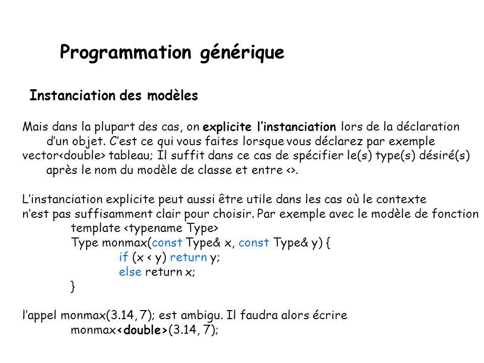 Programmation générique La définition des modèles ne génère en elle-même aucun code : cest juste une description de plein de codes potentiels.