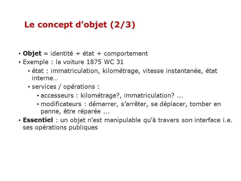 Le concept dobjet (2/3) Objet = identité + état + comportement Exemple : la voiture 1875 WC 31 état : immatriculation, kilométrage, vitesse instantanée, état interne… services / opérations : accesseurs : kilométrage?, immatriculation?...