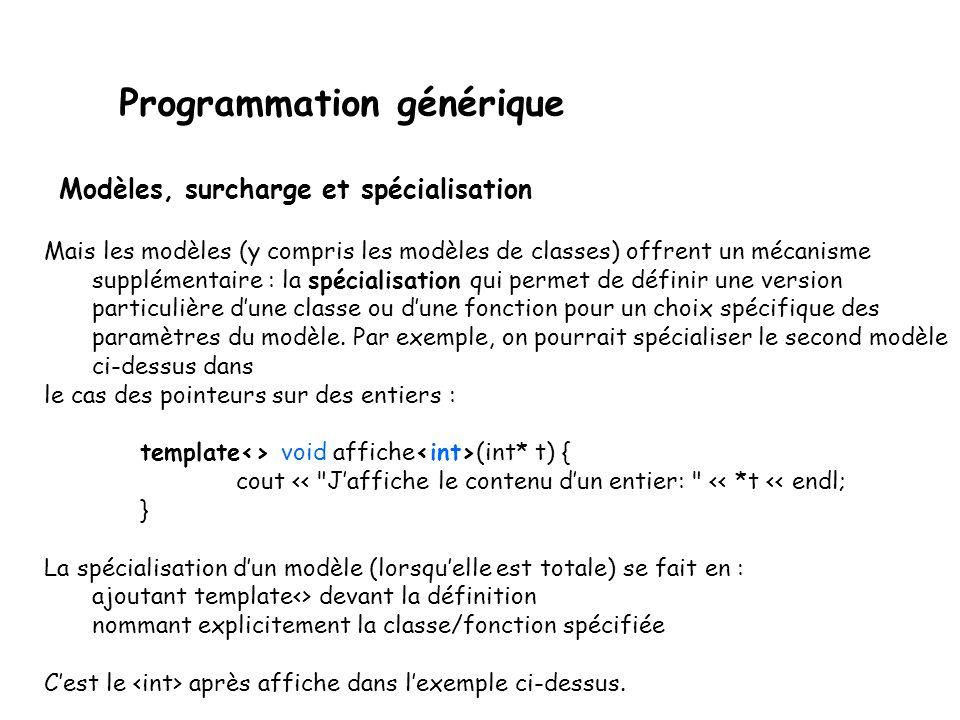 Programmation générique Les modèles de fonctions peuvent très bien être surchargés comme les fonctions usuelles (puisque, encore une fois, ce sont juste une façon condensée décrire plein de fonctions à la fois).