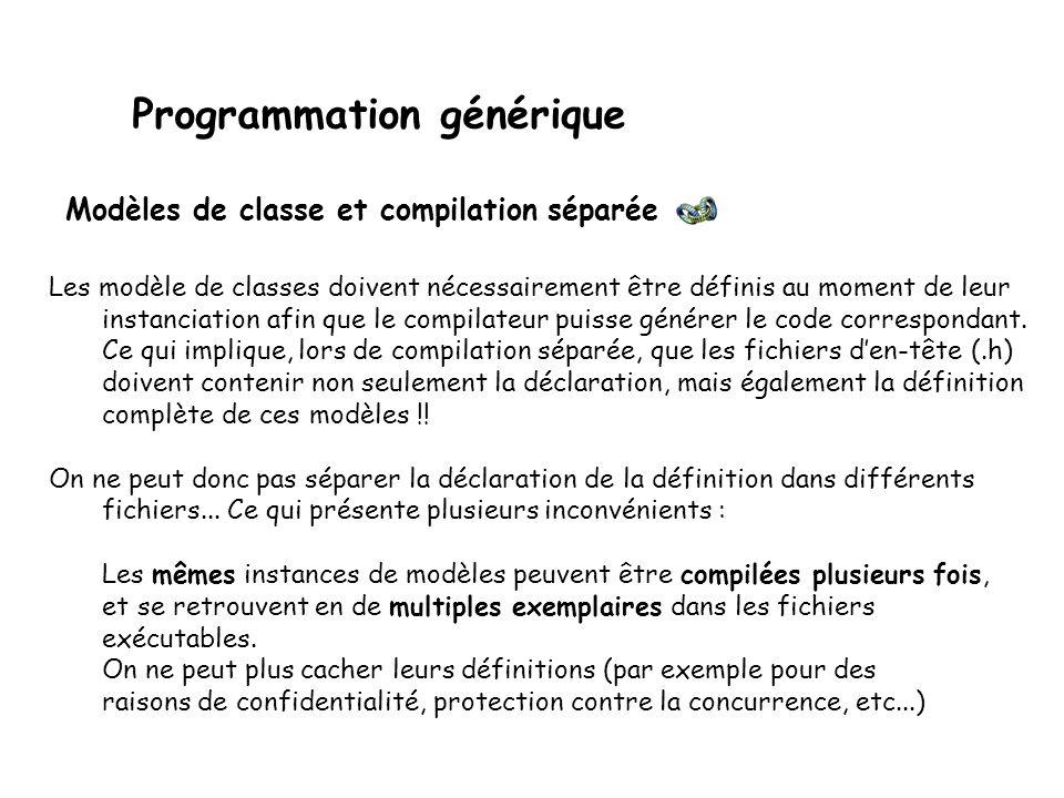La fonction echanger ne peut être utilisée que par une classe C possédant un constructeur de copie et un opérateur d affectation.
