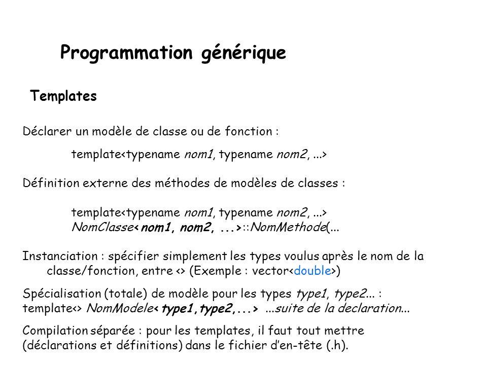 Programmation générique Notez également que les fichiers contenant des modèles ne sont pas des fichiers sources classiques, puisque sans instanciation, ils ne génèrent aucun code machine.