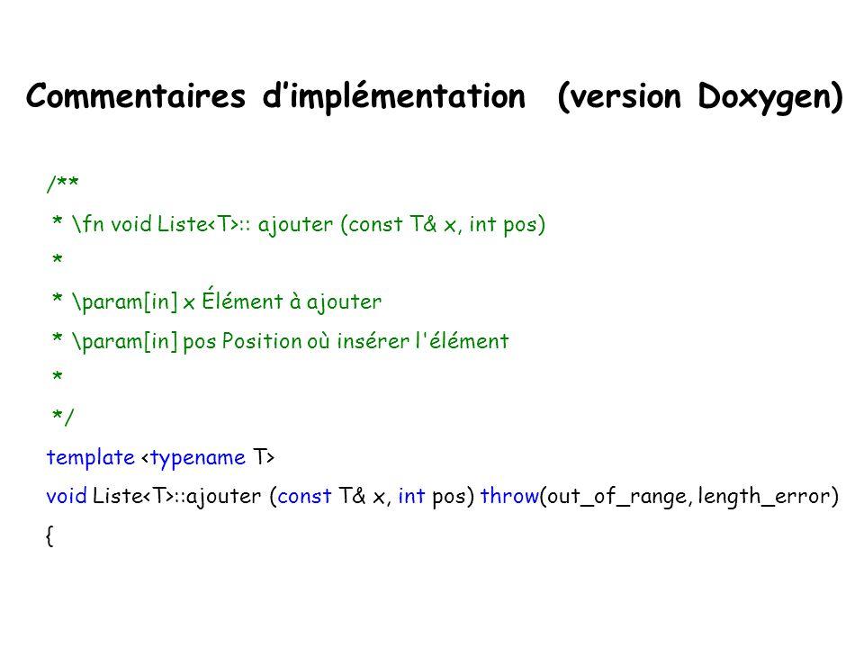 template class Liste{ public://L'interface... /** * \brief Ajouter un nouvel élément dans la liste * * \pre il y a assez de mémoire pour ajouter l'élé