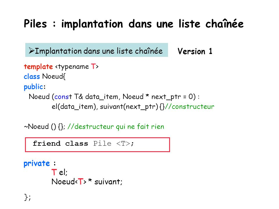 Piles : implantation dans un tableau template Pile :: Pile (const Pile & p) { tab=new X [p. tailleMax]; tailleMax =p. tailleMax; for (int i=0; i< tail