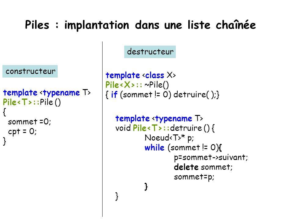 Piles : implantation dans une liste chaînée template class Pile { public: Pile (); Pile (const Pile &) throw (bad_alloc); ~Pile (); Pile & operator=(c
