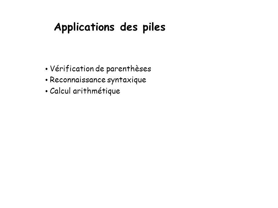Les piles Comparaison des 2 implantations Toutes les implantations des opérations dune pile utilisant un tableau ou une liste chaînée prennent un temp