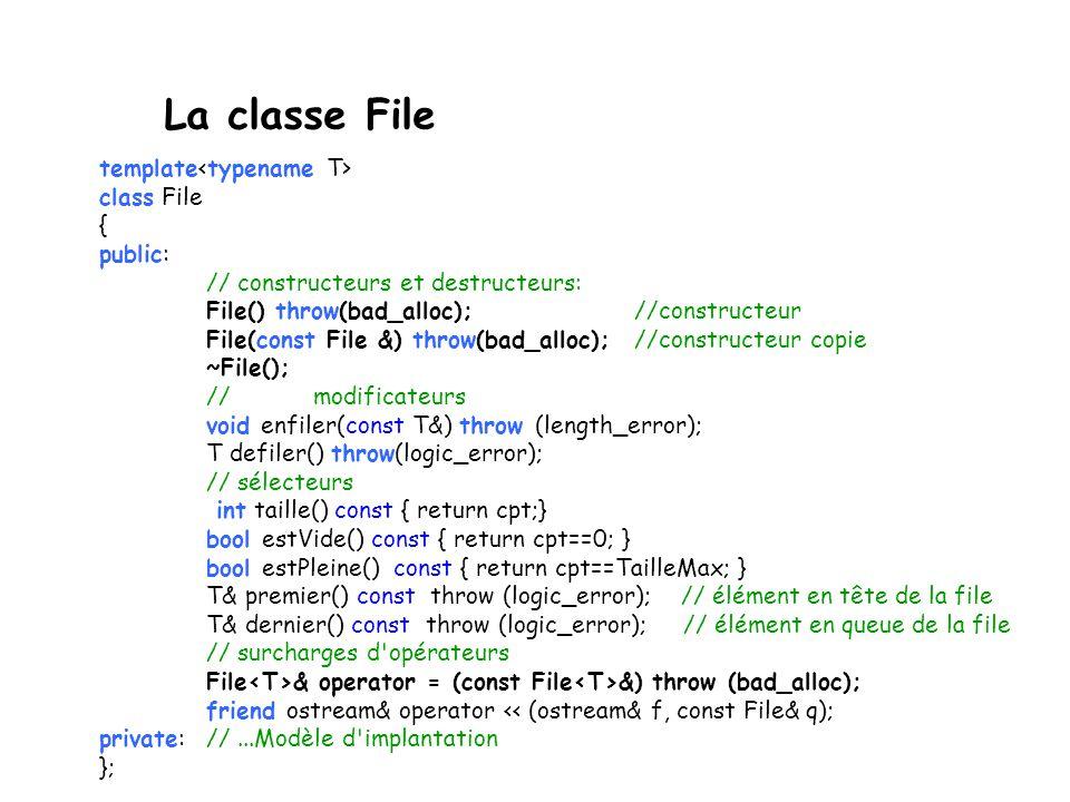 Préoccupation de la programmation par objet initialiser une file (constructeurs); détruire une file de ses éléments (destructeur); Constructeur de cop