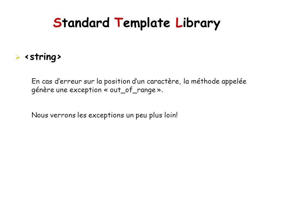 Standard Template Library En cas derreur sur la position dun caractère, la méthode appelée génère une exception « out_of_range ».