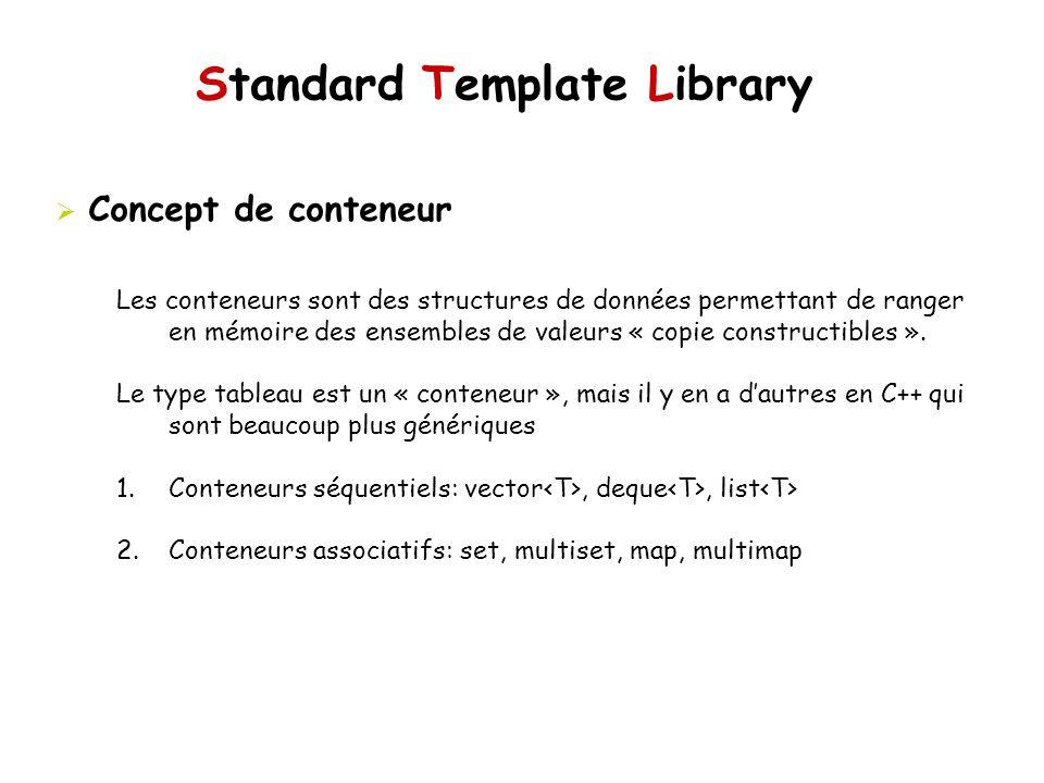 Standard Template Library Concept de conteneur Les conteneurs sont des structures de données permettant de ranger en mémoire des ensembles de valeurs « copie constructibles ».