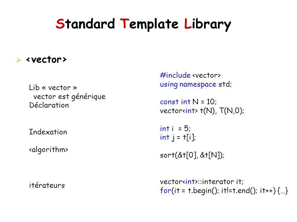 Standard Template Library #include using namespace std; const int N = 10; vector t(N), T(N,0); int i = 5; int j = t[i]; sort(&t[0], &t[N]); vector ::i