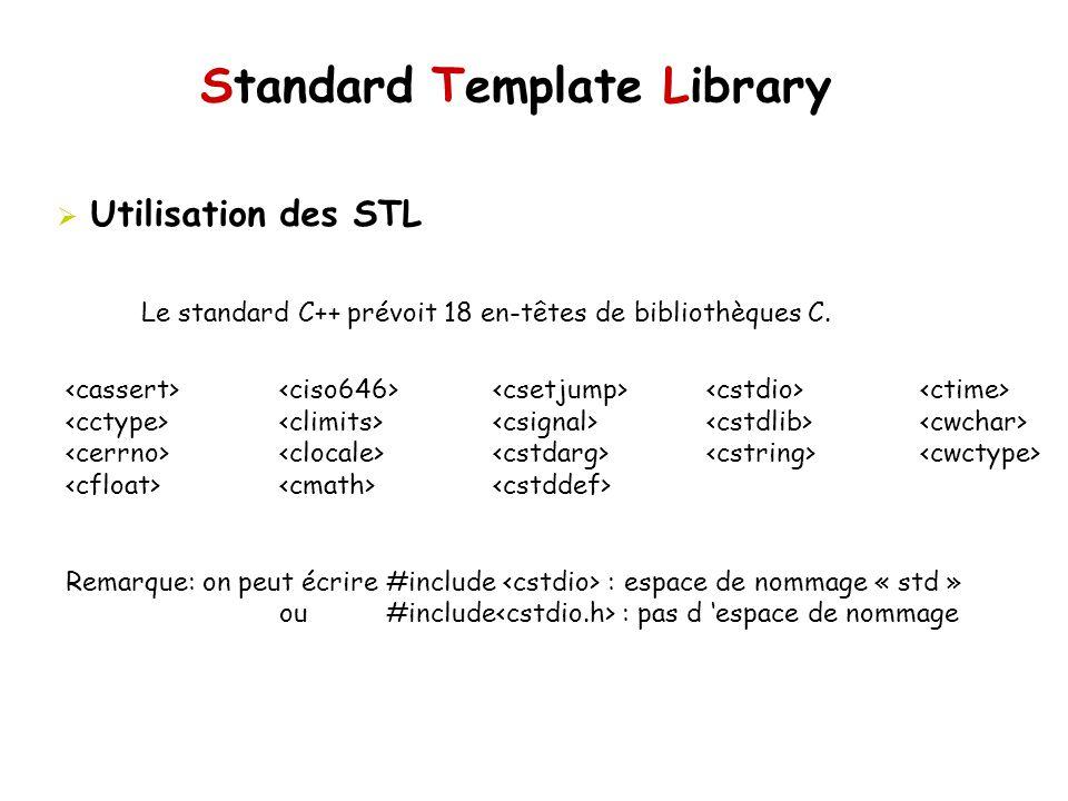 Standard Template Library Utilisation des STL Le standard C++ prévoit 18 en-têtes de bibliothèques C.