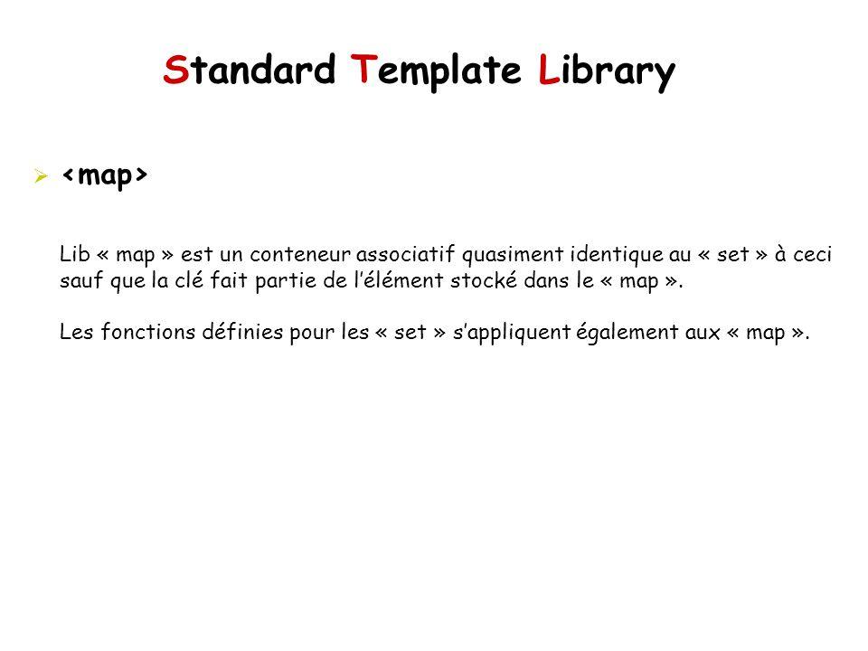 Standard Template Library Lib « map » est un conteneur associatif quasiment identique au « set » à ceci sauf que la clé fait partie de lélément stocké dans le « map ».