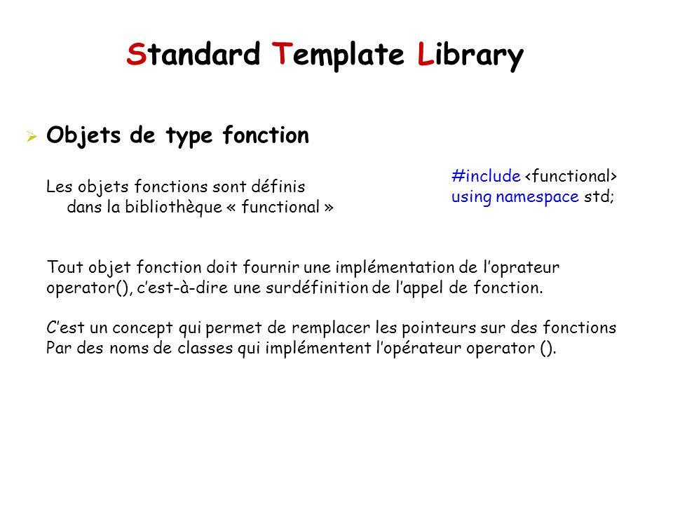Standard Template Library Objets de type fonction #include using namespace std; Les objets fonctions sont définis dans la bibliothèque « functional » Tout objet fonction doit fournir une implémentation de loprateur operator(), cest-à-dire une surdéfinition de lappel de fonction.