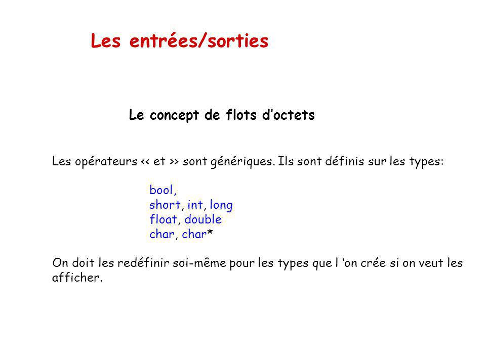 Les entrées/sorties Le concept de flots doctets Les opérateurs > sont génériques. On peut mélanger les types. short s = 1; int i = 2; long l = 3; floa