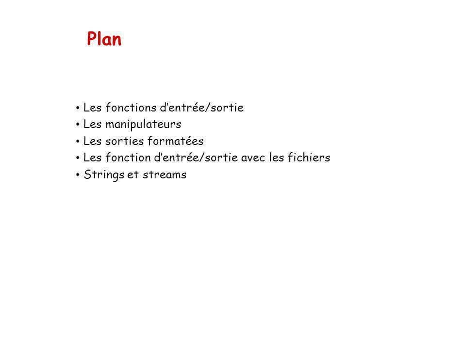 Plan Les fonctions dentrée/sortie Les manipulateurs Les sorties formatées Les fonction dentrée/sortie avec les fichiers Strings et streams