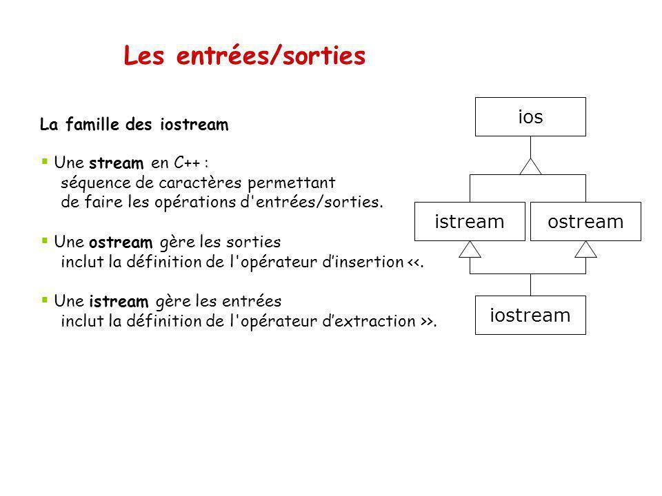Entrée/sortie avec des fichiers texte Exemple 2 { //Ouverture d un fichier en écriture ifstream ifs( Moto.dat ,ios::in); if(!ifs) { cerr << Ouverture impossible <<endl; return 1; } char ligne[256]; int nbMotos; ifs >> nbMotos; ifs.ignore(100, \n ); for (int i=0; i<nbMotos; i++) { ifs.getline(ligne,255); cout << Modele : << ligne << endl; ifs >> annee; cout << Annee : << annee << endl << endl; ifs.ignore(100, \n ); } } // destructeur de ifs appelé, qui ferme le fichier Modèle : Honda Shadow Annee : 1986 Modèle : Honda Valkyrie Rune Annee :2004 Modèle : Honda Shadow Annee : 1986 Modèle : Honda Valkyrie Rune Annee :2004