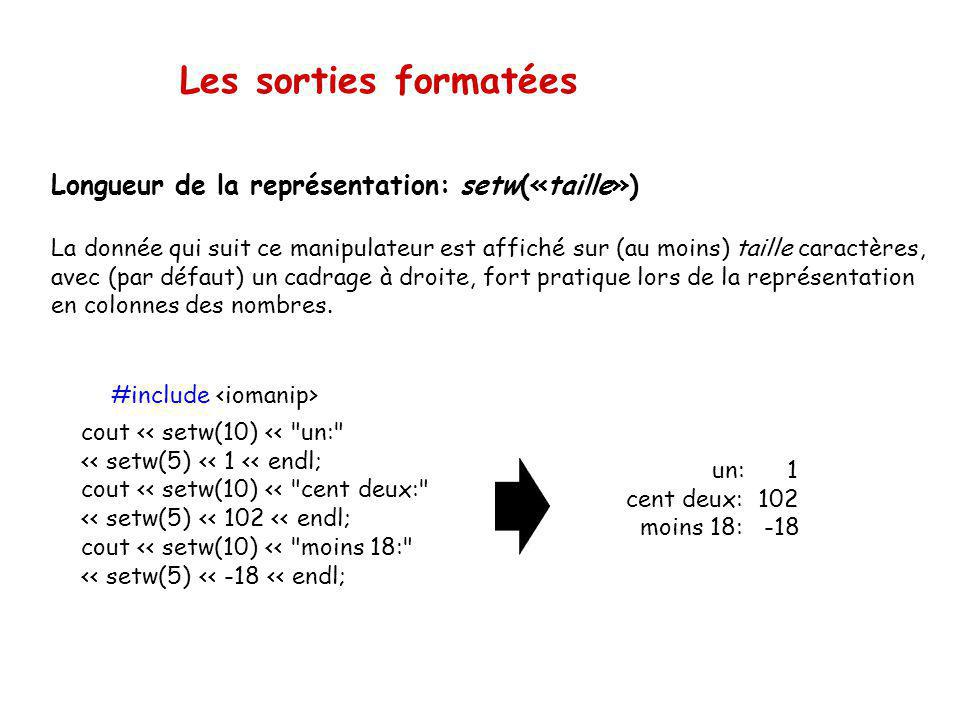 Les manipulateurs Un certain nombre de paramètres pour le format des sorties peuvent être explicitement spécifiés. Ces paramètres sont de deux formes: