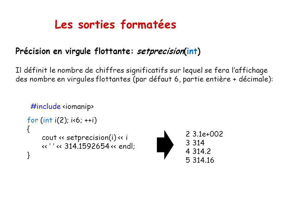 Les sorties formatées Caractère de remplissage: setfill(«char») Il définit le caractère utilisé pour pour réaliser le remplissage lors dun alignement