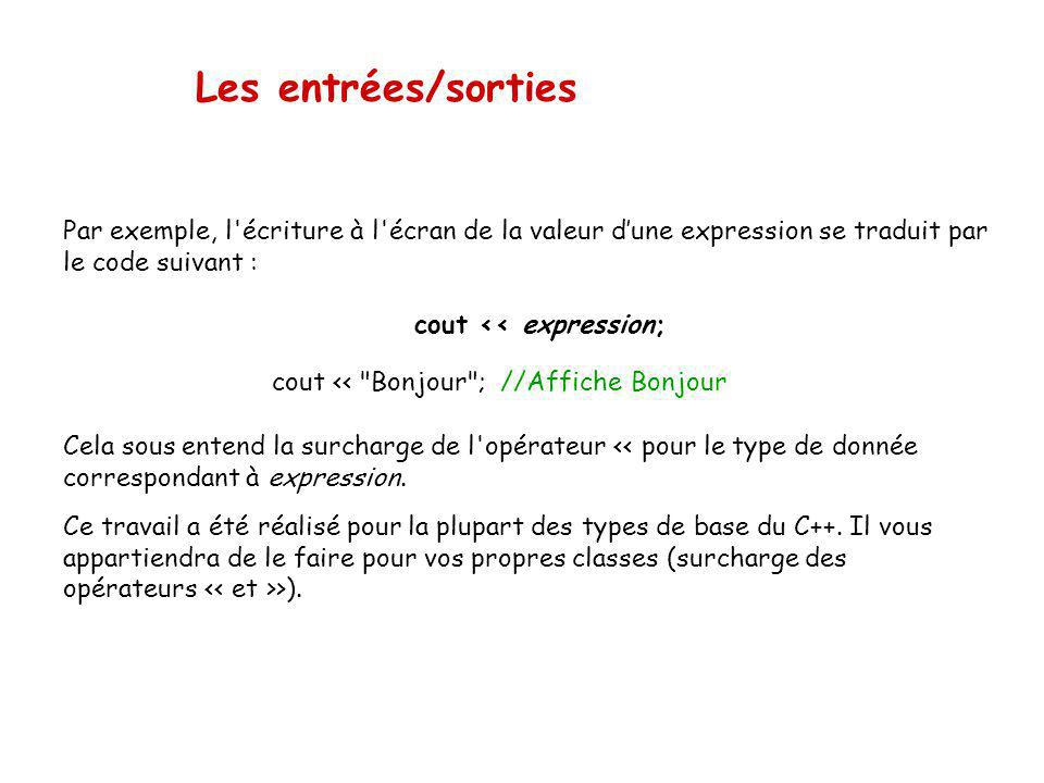 Les entrées/sorties Par exemple, l écriture à l écran de la valeur dune expression se traduit par le code suivant : cout << expression; cout << Bonjour ; //Affiche Bonjour Cela sous entend la surcharge de l opérateur << pour le type de donnée correspondant à expression.