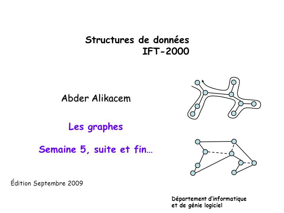 Structures de données IFT-2000 Abder Alikacem Les graphes Semaine 5, suite et fin… Département dinformatique et de génie logiciel Édition Septembre 20
