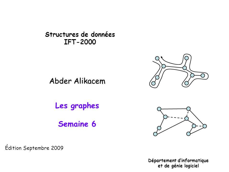 Structures de données IFT-2000 Département dinformatique et de génie logiciel Édition Septembre 2009 Abder Alikacem Les graphes Semaine 6