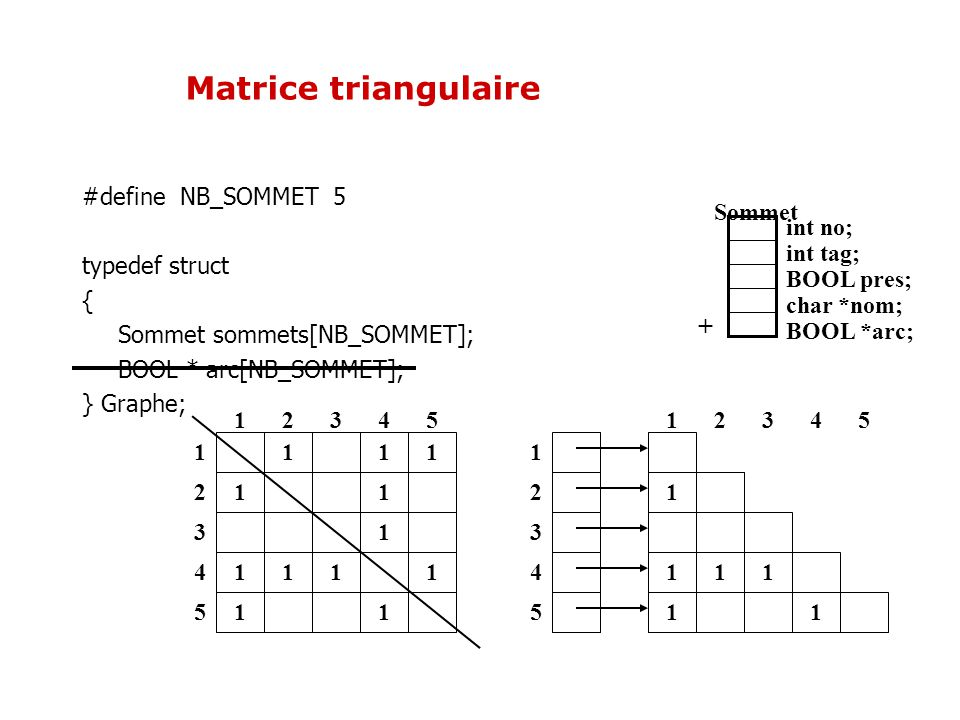 1 11 11 1 12345 1 2 3 4 51 11 1 1 1 Matrice triangulaire 1 11 1 1 2 3 4 51 1 12345 int no; int tag; BOOL pres; char *nom; BOOL *arc; Sommet + #define