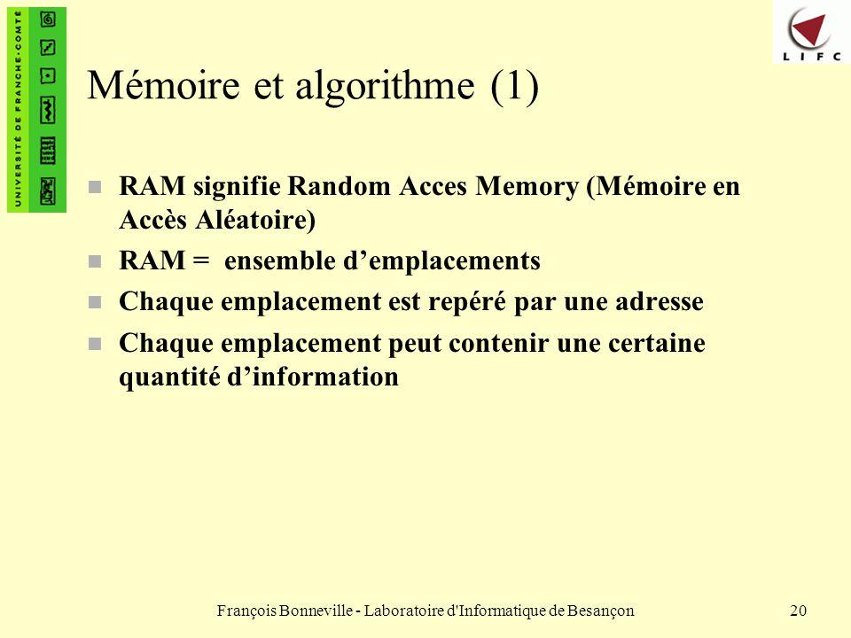 François Bonneville - Laboratoire d'Informatique de Besançon20 Mémoire et algorithme (1) n RAM signifie Random Acces Memory (Mémoire en Accès Aléatoir