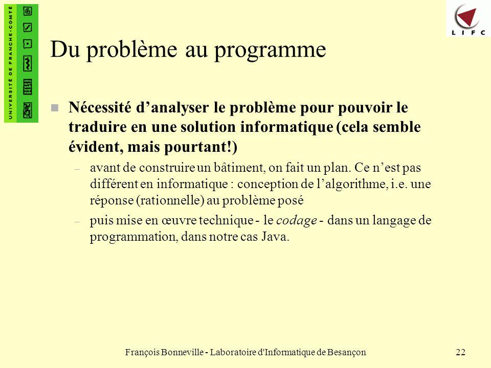 François Bonneville - Laboratoire d'Informatique de Besançon22 Du problème au programme n Nécessité danalyser le problème pour pouvoir le traduire en