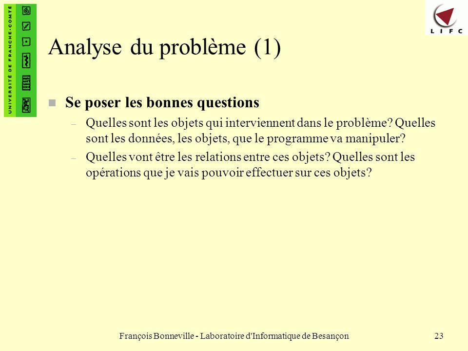 François Bonneville - Laboratoire d'Informatique de Besançon23 Analyse du problème (1) n Se poser les bonnes questions – Quelles sont les objets qui i