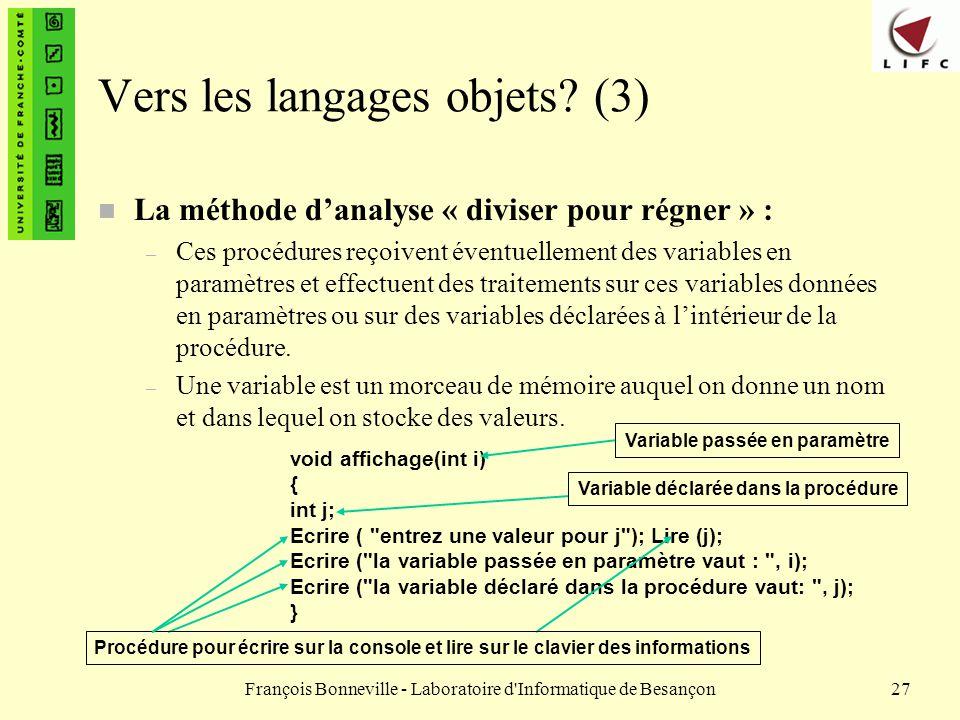 François Bonneville - Laboratoire d'Informatique de Besançon27 void affichage(int i) { int j; Ecrire (