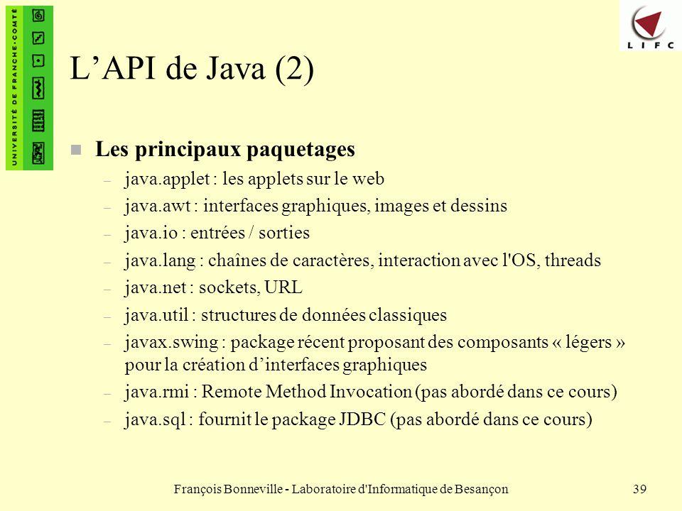 François Bonneville - Laboratoire d'Informatique de Besançon39 LAPI de Java (2) n Les principaux paquetages – java.applet : les applets sur le web – j