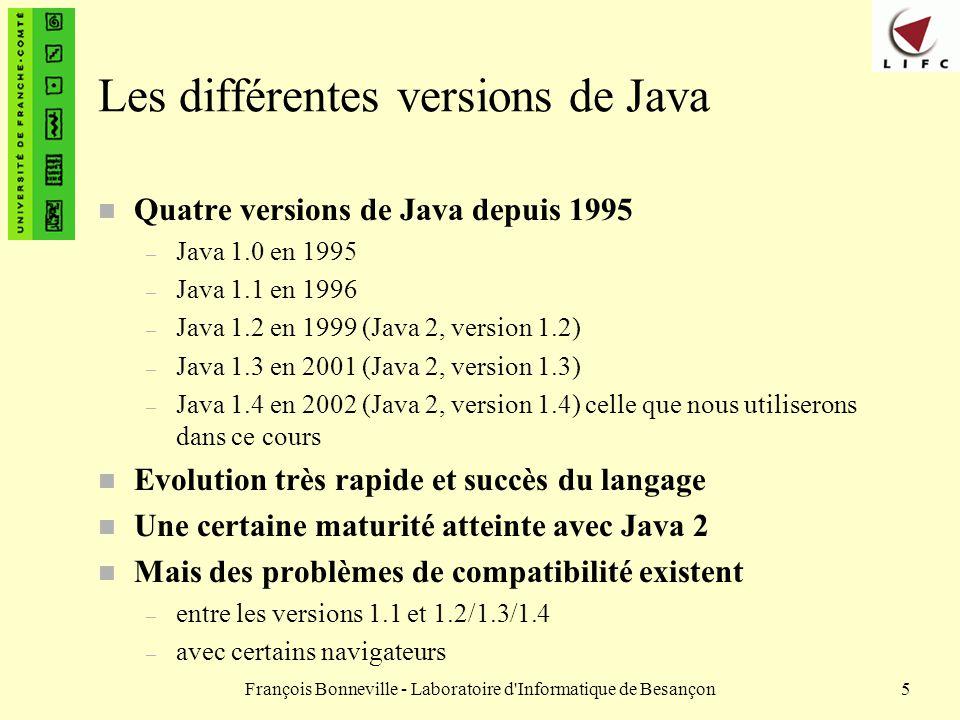 François Bonneville - Laboratoire d Informatique de Besançon36 Langage interprété Exécution Avant exécution Fichier de code Java MaClasse.java Compilation javac Autres byte code Machine virtuelle Java (JVM) java Cas de Java Byte code MaClasse.class