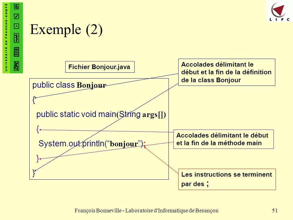 François Bonneville - Laboratoire d'Informatique de Besançon51 Exemple (2) public class Bonjour { public static void main ( String args[]) { System.ou