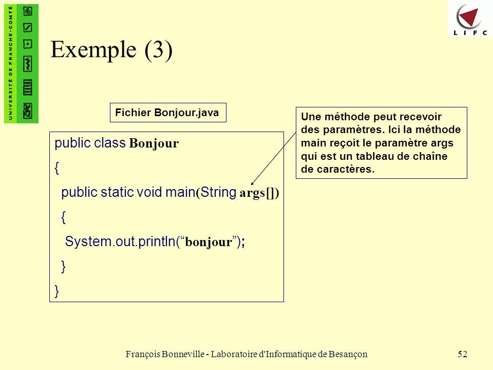 François Bonneville - Laboratoire d'Informatique de Besançon52 Exemple (3) public class Bonjour { public static void main ( String args[]) { System.ou