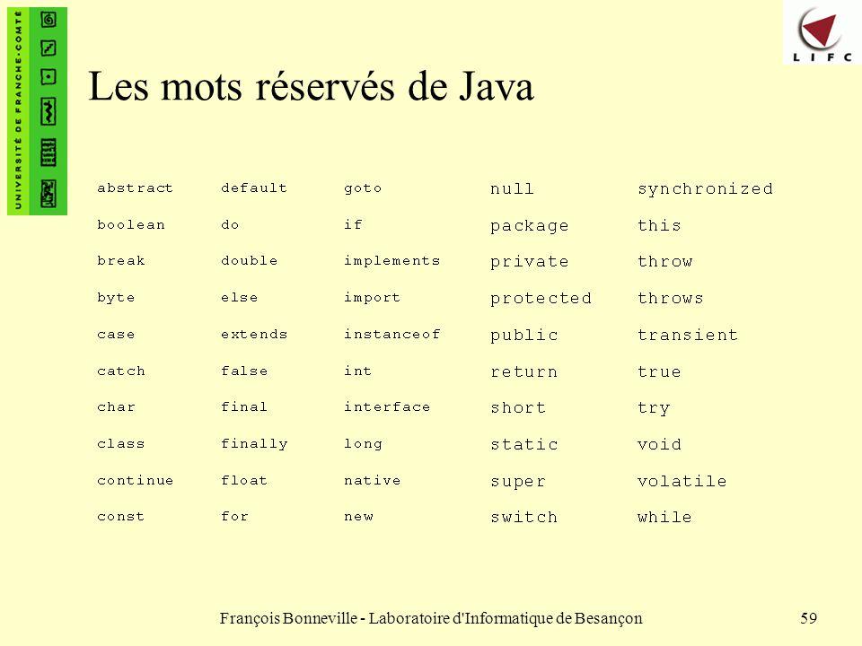 François Bonneville - Laboratoire d'Informatique de Besançon59 Les mots réservés de Java