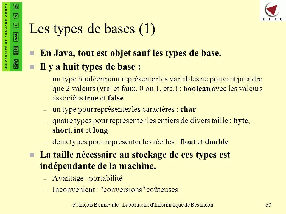 François Bonneville - Laboratoire d'Informatique de Besançon60 Les types de bases (1) n En Java, tout est objet sauf les types de base. n Il y a huit