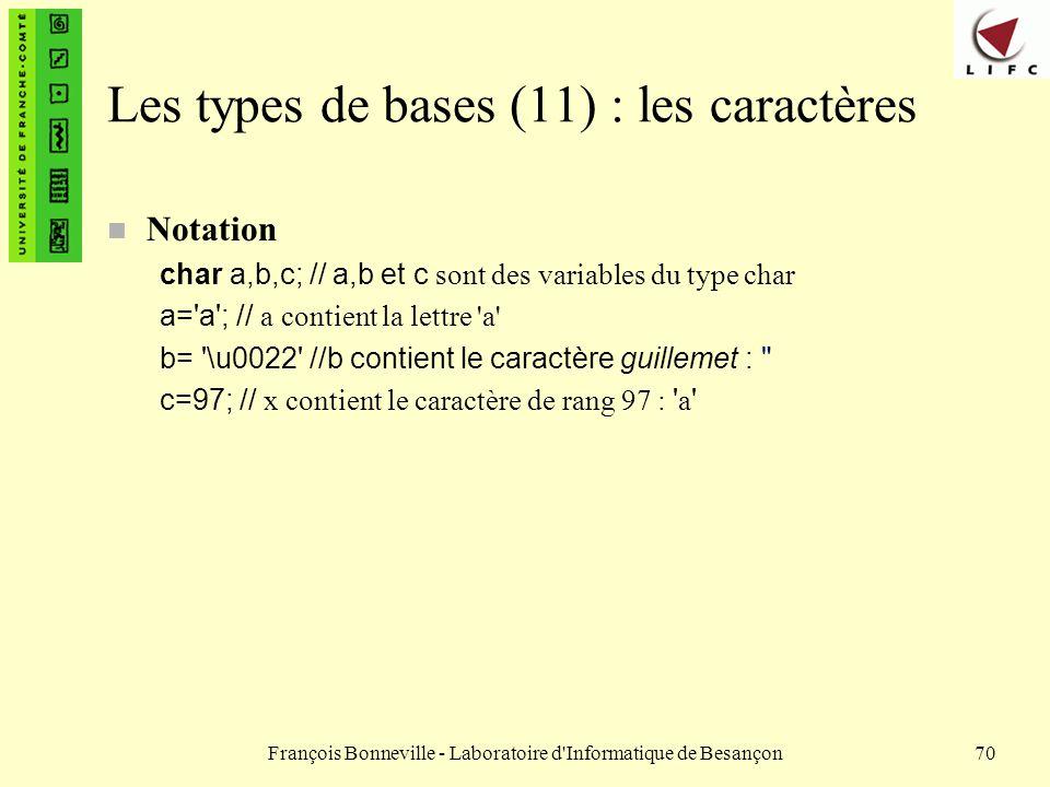 François Bonneville - Laboratoire d'Informatique de Besançon70 Les types de bases (11) : les caractères n Notation char a,b,c; // a,b et c sont des va
