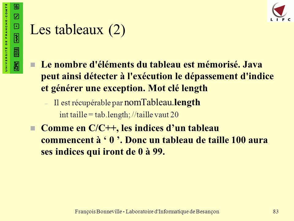 François Bonneville - Laboratoire d'Informatique de Besançon83 Les tableaux (2) n Le nombre d'éléments du tableau est mémorisé. Java peut ainsi détect